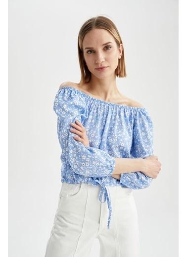 DeFacto Carmen Yaka Büzgülü Bel Detaylı Yarım Kollu Bluz Mavi
